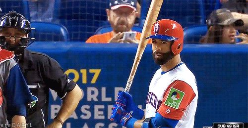 03/11/2017: USA vs DR- Jose Bautista reacts as he steps to the plate to face his Blue Jays teammate Marcus Stroman at the WBC, and it was adorable. (Source: MLB.TV) Follow | Support