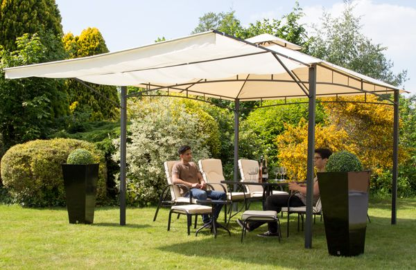 This gazebo will provide unbeatable shelter thanks to the innovative addition of having an awning attached to the front. This will not only offer shelter and protection from the elements but also gives this gazebo a sense of grandeur, the perfect way to celebrate a special oc