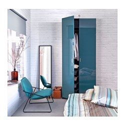 "PAX Wardrobe, black-brown, Fardal high gloss/turquoise - 39 3/8x23 3/4x93 1/8 "" - IKEA"