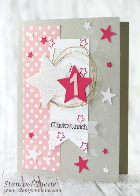 Karte Kindergeburtstag, Mädchenkarte Geburtstag, Karte 1. Geburtstag,  Geburtstagskarte Mädchen, Stampinup Workshop