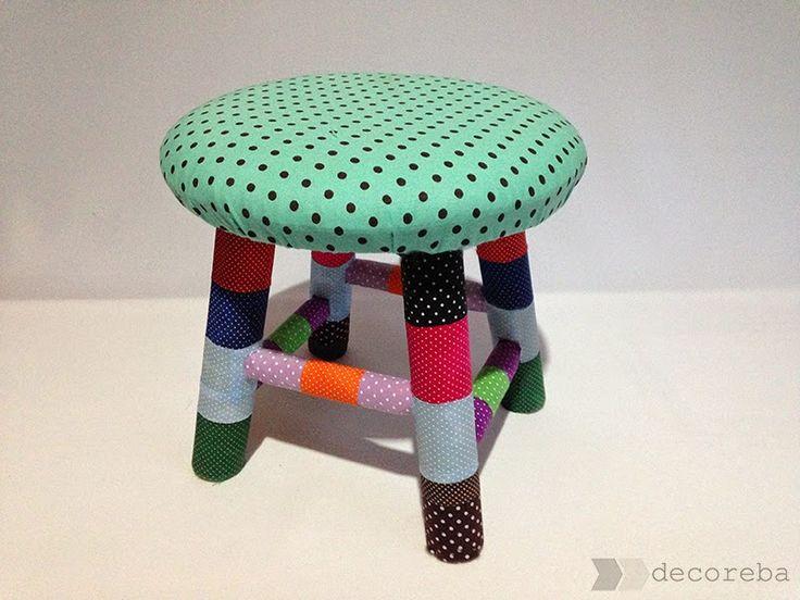 Decoreba Design: DIY - Banquinho de madeira repaginado com patchwork.