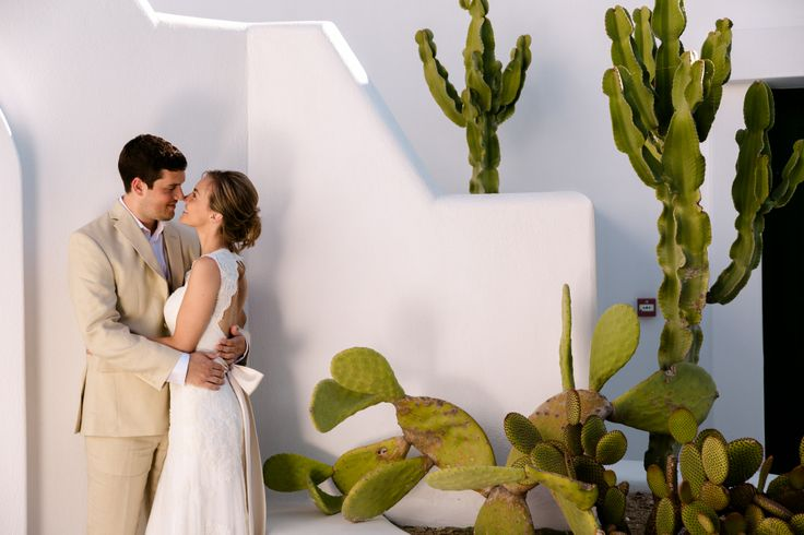 Mykonian architecture provides the perfect background for your wedding photos at Mykonos Grand Luxury Resort