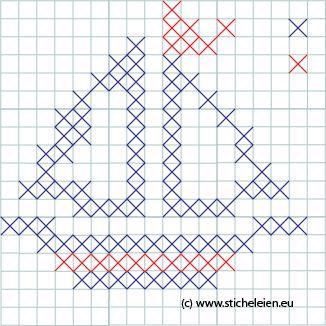 Sticheleien - Anleitung zum Kreuzstich sticken lernen: // Muster des Monats: Schiff