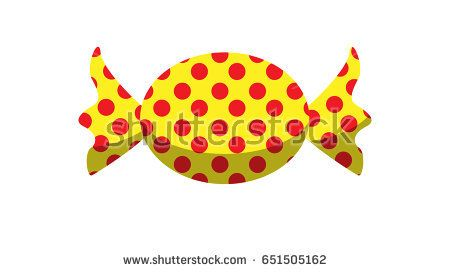 Yellow and red dotted candy vector