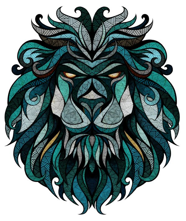 Super detailed illustrations - has weaving motifs within broken up shapes that make up overall image of animal. Analogous colour scheme. Symmetrical/balanced layout. Bold outlines really frames and finishes off the work, even though it's just the head detached from the body. // Landyachtz // Longboard Graphics by Andreas Preis, via Behance