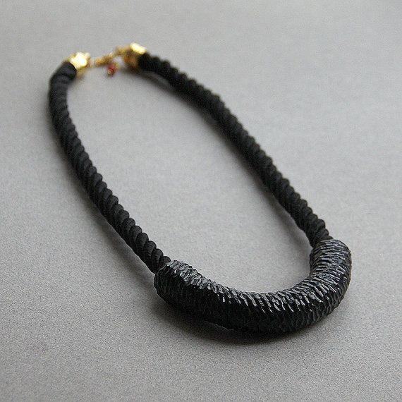 Black Necklace  Carving polymer clay Necklace  от tanyayesli