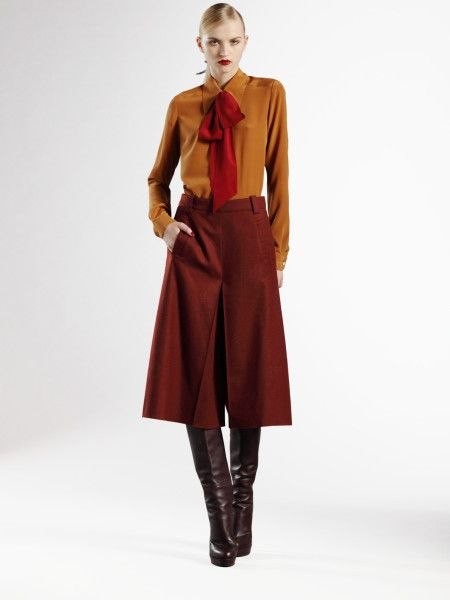Wool Gauchos | Gucci Wool/cashmere Gaucho Pants in Red (ruby) - Lyst