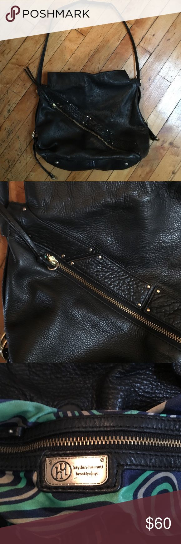 Hayden-Harnett Brooklyn leather bag Hayden Harnett black leather tote with asymmetrical gold zipper hayden harnett Bags Shoulder Bags