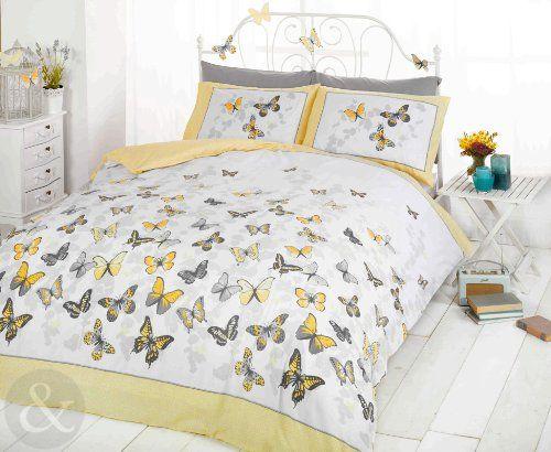 Just Contempo - Copripiumino double-face misto cotone, set di biancheria da letto per bambine, con motivo a pois e secondo motivo a farfalle, Cotone, giallo (grigio bianco), copripiumino matrimoniale (corredo letto) Just Contempo http://www.amazon.it/dp/B00GTQ2N9A/ref=cm_sw_r_pi_dp_hp7mvb1SKQNK9