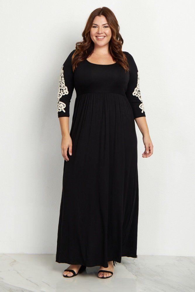 Black Crochet Sleeve Plus Size Maxi Dress