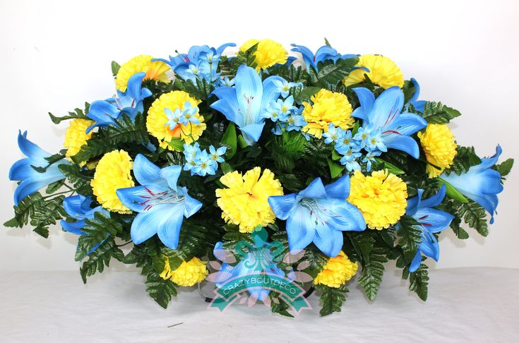 Beautiful XL Blue Lilies with Yellow Carnations Cemetery Tombstone Headstone Saddle by Crazyboutdeco on Etsy