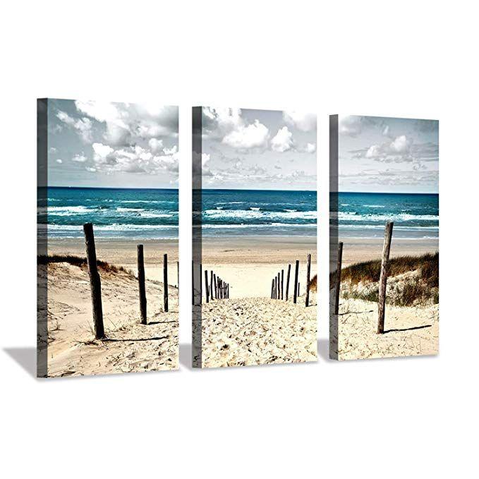 Amazon Com Seascape Picture Beach Artwork Prints Sand Dune Fence