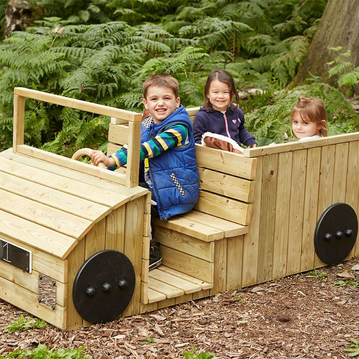 A beautifully crafted vehicle made from outdoor treated wood ideal for outdoor role play or use