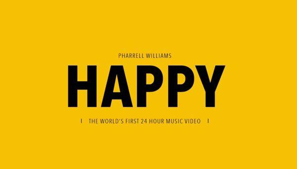 """""""Happy"""" di Pharell Williams è una canzone talmente allegra e contagiosa che ha un sito apposito – """"24 hours of happy"""" - dove è possibile visualizzare un video che dura ben 24 ore che ha per protagonisti il cantante, i Minions (personaggi del cartone animato """"Cattivissimo me 2"""" di cui la canzone è colonna sonora), celebrities e persone normalissime di Los Angeles."""