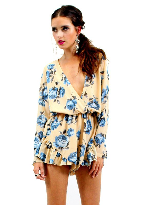 His Girl Floral Playsuit - BEIGE - Playsuits - Lioness Fashion
