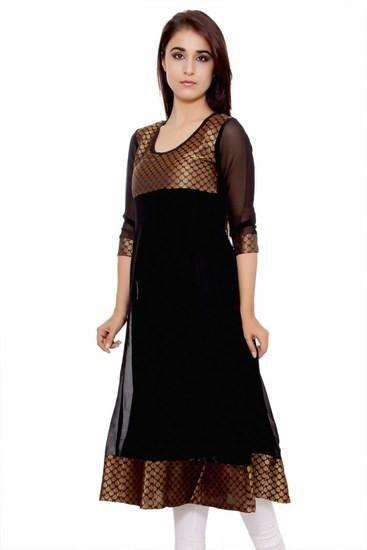 LadyIndia.com # Kurtas, Classy Anarkali Black Kurti For Women, Kurtis, Kurtas, Cotton Kurti, Anarkali, A-Line Kurti Designer Kurti, https://ladyindia.com/collections/ethnic-wear/products/classy-anarkali-black-kurti-for-women?variant=30039296013