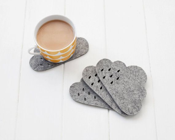 Cloud Felt Coaster set with punched rain detail   by pygmycloud, £12.00