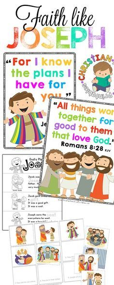 Joseph Bible Lesson Printables!  This is a fantastic set of Bible Verse Posters, Scripture Coloring Pages, Bible Minibooks and Story Sequencing Activities.  This website is Filled with FREE Christian Preschool Curriculum you can use for Homeschool or Sund
