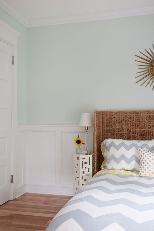 Love the headboard and color idea for bedroom walls.