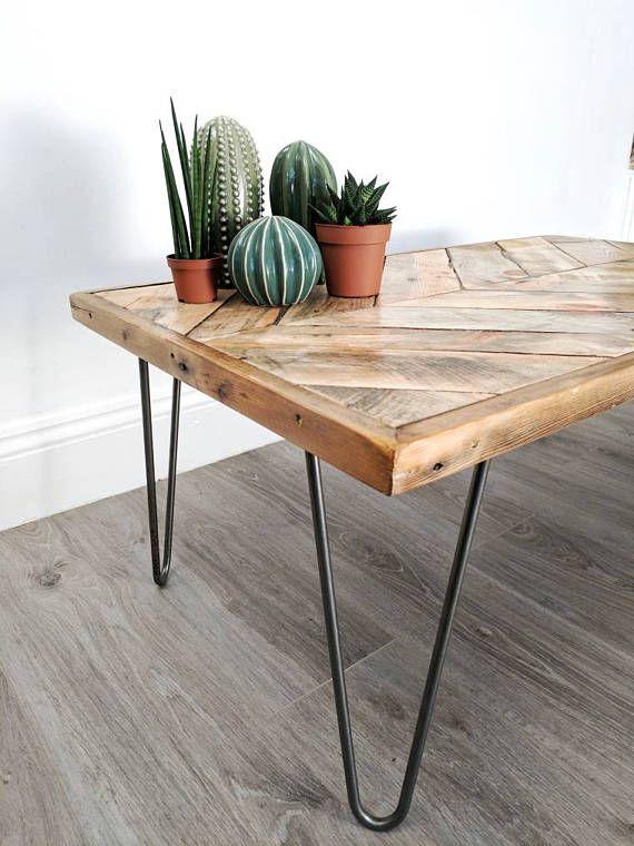 "Chevron Coffee Table ""KALASABA"" in natural finish with Hairpin Legs – Reclaimed Wood, Modern Boho, Herringbone Design"