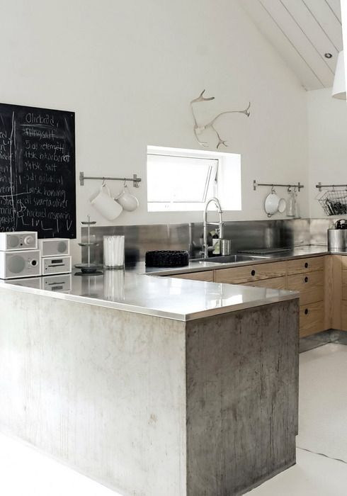 Pretty sure all I need is some cement and metal and I'm happy. Industrial Modern Scandinavian Kitchen | Scandinavian Handcrafts & Design