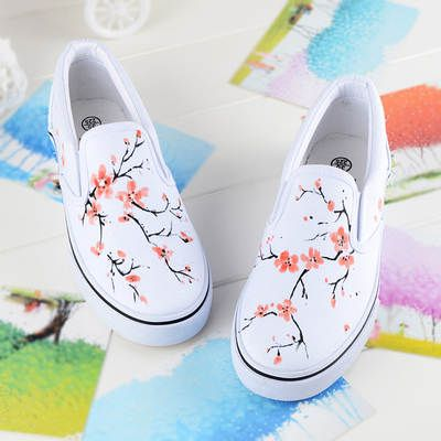 Gba Automne Chaussures Femme 2017 Printemps Femelle Plat Pied Peint À La Predominant Fleur Toile Chaussures Femmes Creepers Mode Au Détail Zapatos Mujer