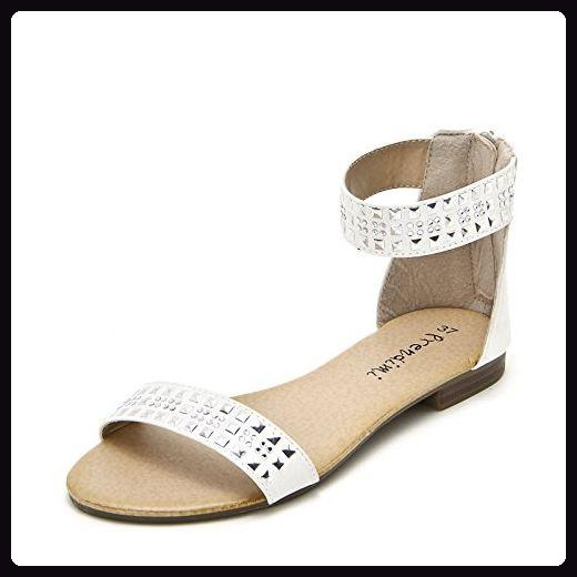 PRENDIMI by Scarpe&Scarpe - Flache Sandalen mit Strass und Nieten - 38,0, Weiss - Sandalen für frauen (*Partner-Link)