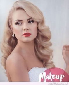 Beautiful blonde hair and makeup for the wedding day