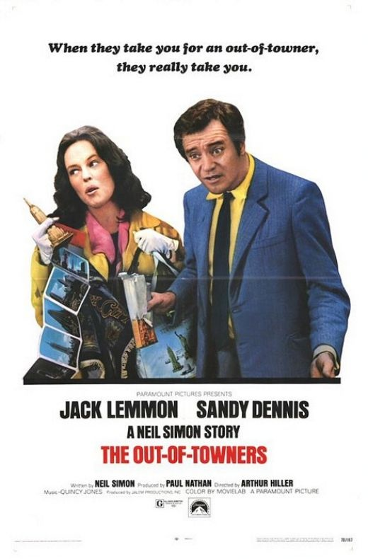 """""""The Out-Of-Towners"""" starring Jack Lemmon & Sandy Dennis (written by Neil Simon; music composed by Quincy Jones)"""