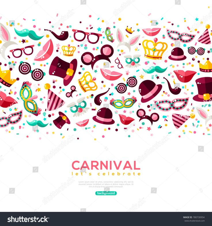 Carnival Concept Banner with carnaval Icons Isolated on white background. Vector Flat Illustration. Place for your text. Photo Booth Party Elements in Border.