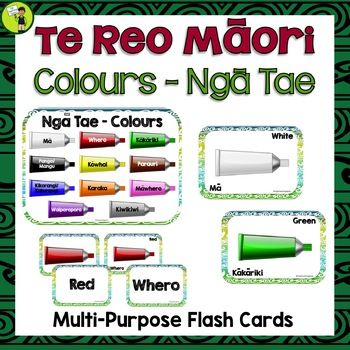 Teach Te Reo Māori Colours (Ngā Tae) in your classroom with these great multi-purpose flash cards. Maori Language Week Activities. Print and laminate the labels and create a Word Wall. You could also print and laminate the pictures and use these as a visual cue. Use the labels to play card games.  #maorilanguage #tereo #tereoactivities #maori #tereomaori