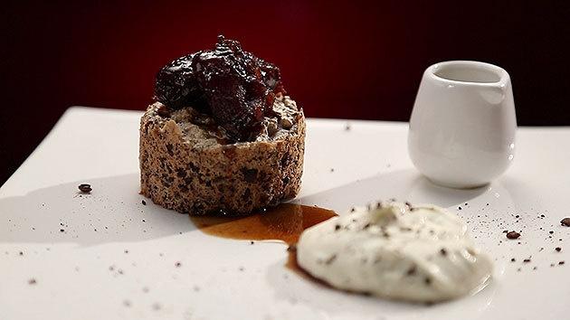 MKR4 Recipe - Chocolate Pecan Meringue Cake with Coffee Dates and Vanilla Sour Cream