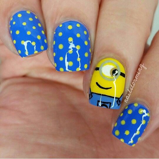 Minion and polka dot nails inspo