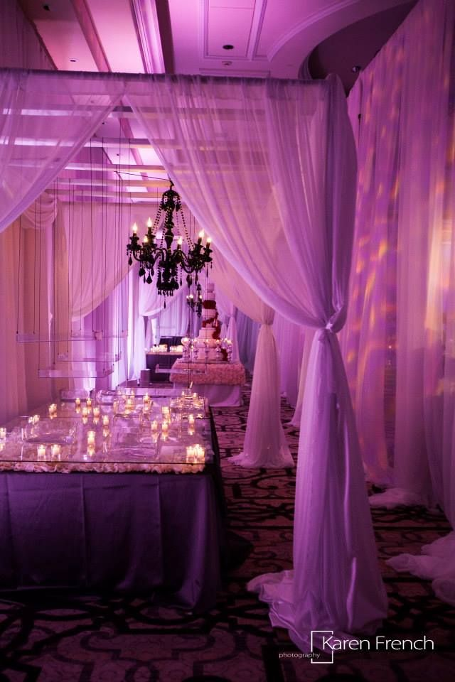 Amazing #drapes at this #pink #uplighting #wedding #reception! #diy #unique #ideas #inspiration #rentmywedding By #KarenFrench