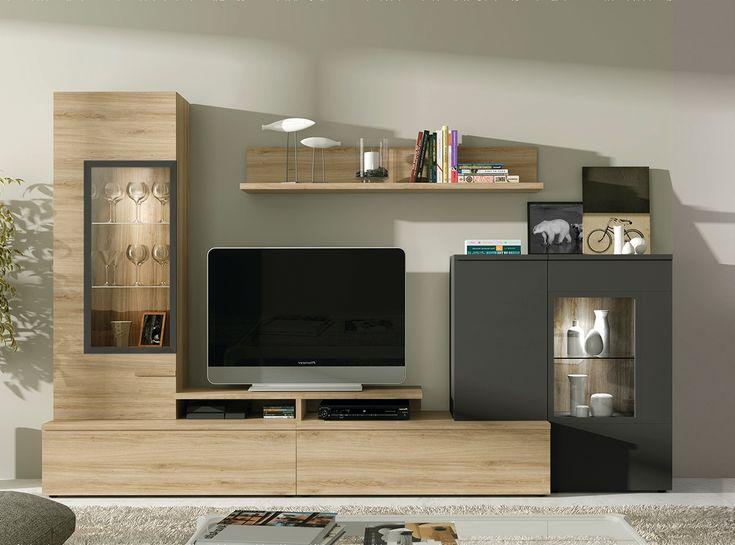 Completa tu salón con este conjunto de 300 cm. Disponible en varios acabados. Focos led en vitrinas opcionales.