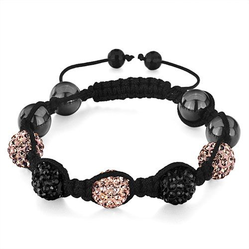 Bracelets - shamballa bracelet black light peach disco ball adjustable bracelet bead bracelets Image.