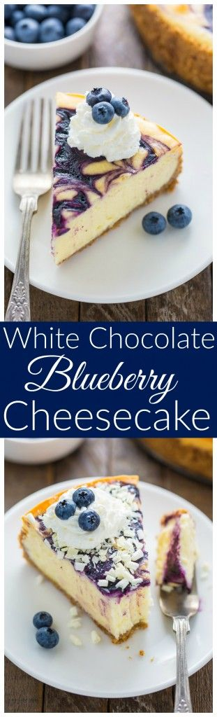 Rich and creamy White Chocolate Blueberry Cheesecake! YUM.