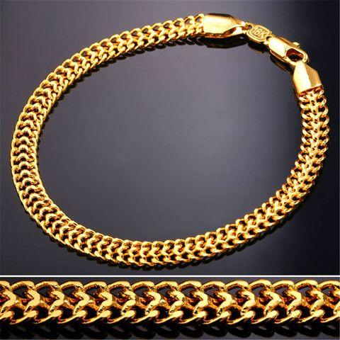 Gold Bracelet Men Jewelry 18K Gold Plated Wholesale Trendy 6MM Wide Mesh Chain & Link Mens Bracelets Punk Rock