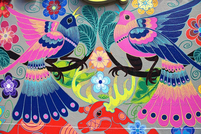 Jet Martinez floral art. Martinez is responsible for a lot of beautiful murals decorating the streets of California – his piece for Mission Market in San Francisco is totally sublime; covered in exotic birds and creatures and meticulously created.