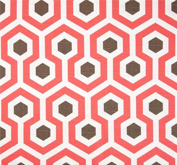Modern Coral Geometric Home Decor Fabric by the Yard, Designer Coral & Brown Drapery or Upholstery Yardage, Cotton Pillow or Craft Fabric