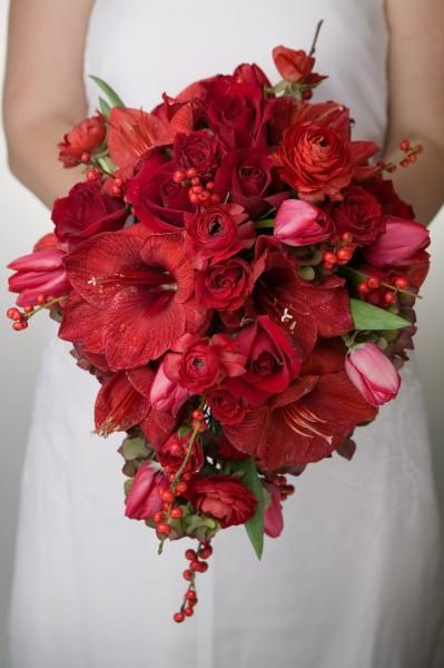 Solid red bridal bouquet | by Dorothy McDaniel's Flower Market: