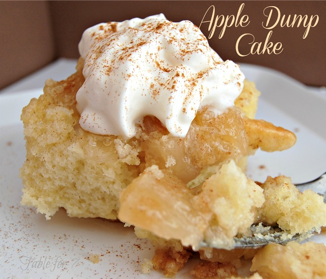 Apple Dump Cake from Table for 7. Just 3 ingredients! More than 3 ingredients per recipe. I did this the same way I do other dump cakes: Pie filling, sprinkle with dry cake mix, then top with 1.5 sticks butter sliced. Bake at 350 x 50min. Will find out in ahour how it is ;)