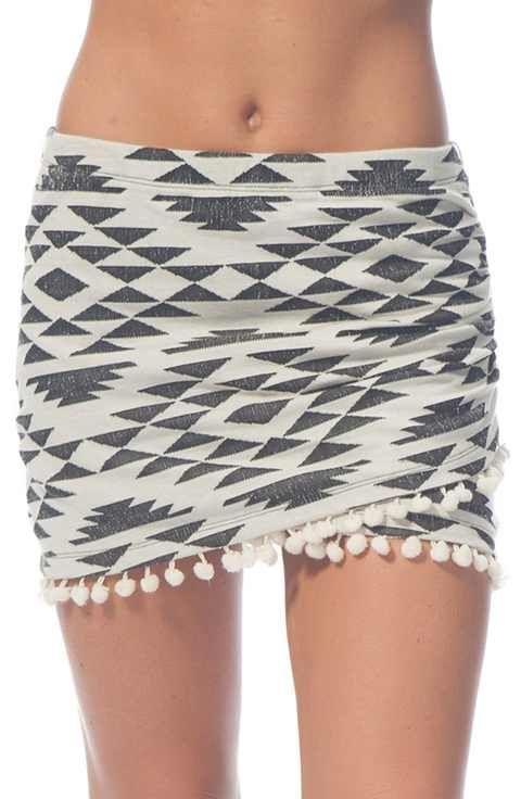 Rip Curl 'Desert Nights' Pompom Trim Miniskirt