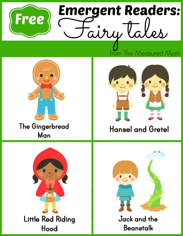 FREE Fairy Tale Emergent Readers - 4 books with simple text and great pictures -- click through and find links to 7 more sets of FREE books for new readers!