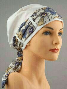 Bandana style hat with scarf trim