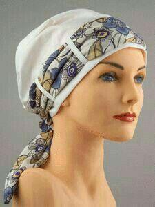 Bandana style hat with scarf trim