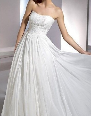 White or ivory Strapless Wedding Dress bridesmaids Prom Dresses Debutante Gown