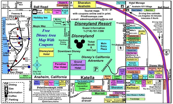 Disneyland - hotels and restaurants in the areas around Disneyland; not exact, maybe not complete, but a place to start