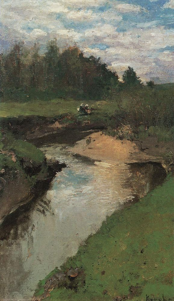 """The River Vorya at Abramtsevo"" by Konstantin Korovin, ca. 1880, Oil on canvas"
