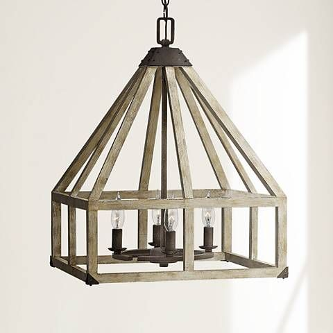 cottage pendant lighting. a ring of candelabra lights lends this solid wood framed pendant light chic farmhouse cottage lighting
